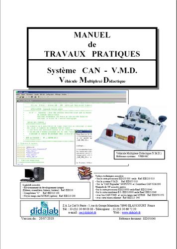 Manuel de Travaux Pratiques (sujets et comptes rendus), réseaux locaux industriels de terrain CAN (réf : EID050040) 1/4