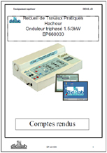 Manuels  de TPs Professeurs & Etudiants Hacheur & Onduleur triphasé 1.5 kW (Réf, EP660020) 1/4