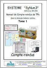 Manuel de Travaux Pratiques (comptes rendus), asservissements de vitesse et position dans le domaine linéaire continu (Réf : ERD100040) 1/4